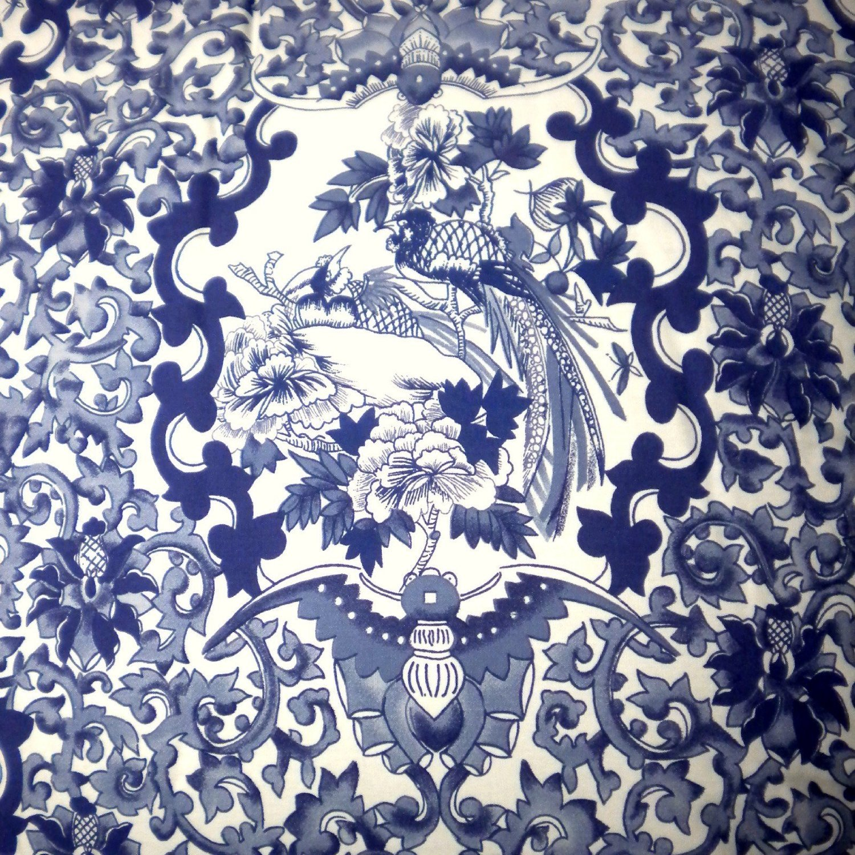 RALPH LAUREN Porcelain Blue TAMARIND Birds Toile 3pc FULL/QUEEN DUVET COVER SET
