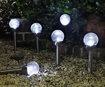 Amazon.com : Grand Patio Crackle Glass Globe Solar Path Lights,  Weather Resistant Solar Garden Lights, Landscape Solar Lights Outdoor, Set  Of 4 : Garden U0026 ...