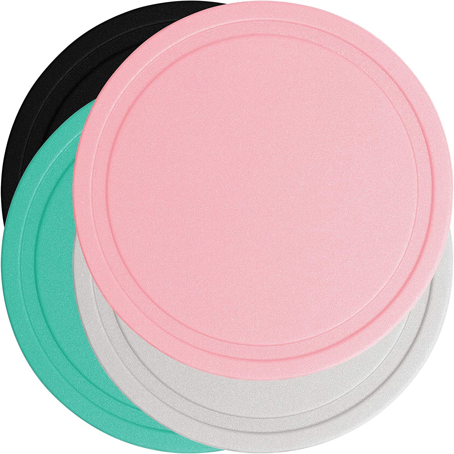 TOPHOME 4 Sets Silicone Coasters Drink Coasters Heat Resistant Soft Coaster Protect Furniture From Water Marks or Damage 4.3 Inch Size (Black,Pink,Grey,Blue)
