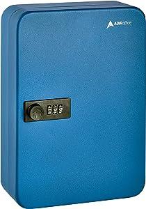 AdirOffice Key Steel Security Cabinet Box - 48 Keys Capacity - Combination Lock (Blue)