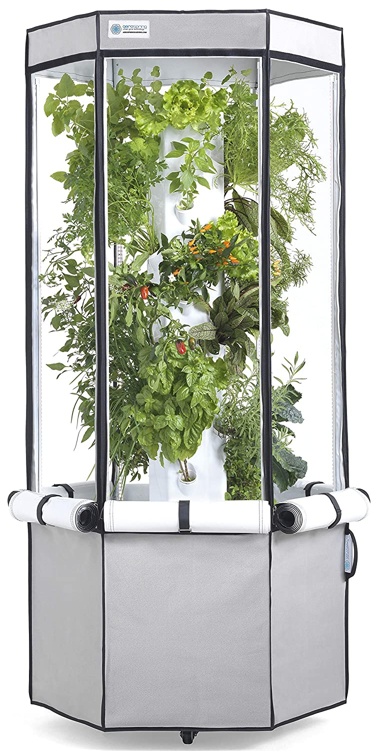 Vertical Hydroponic Grow Kit Tower, Tent, LEDs, and Fan – Aerospring Indoor Herb Vegetable Garden – 27 Plant Grow System – Grey