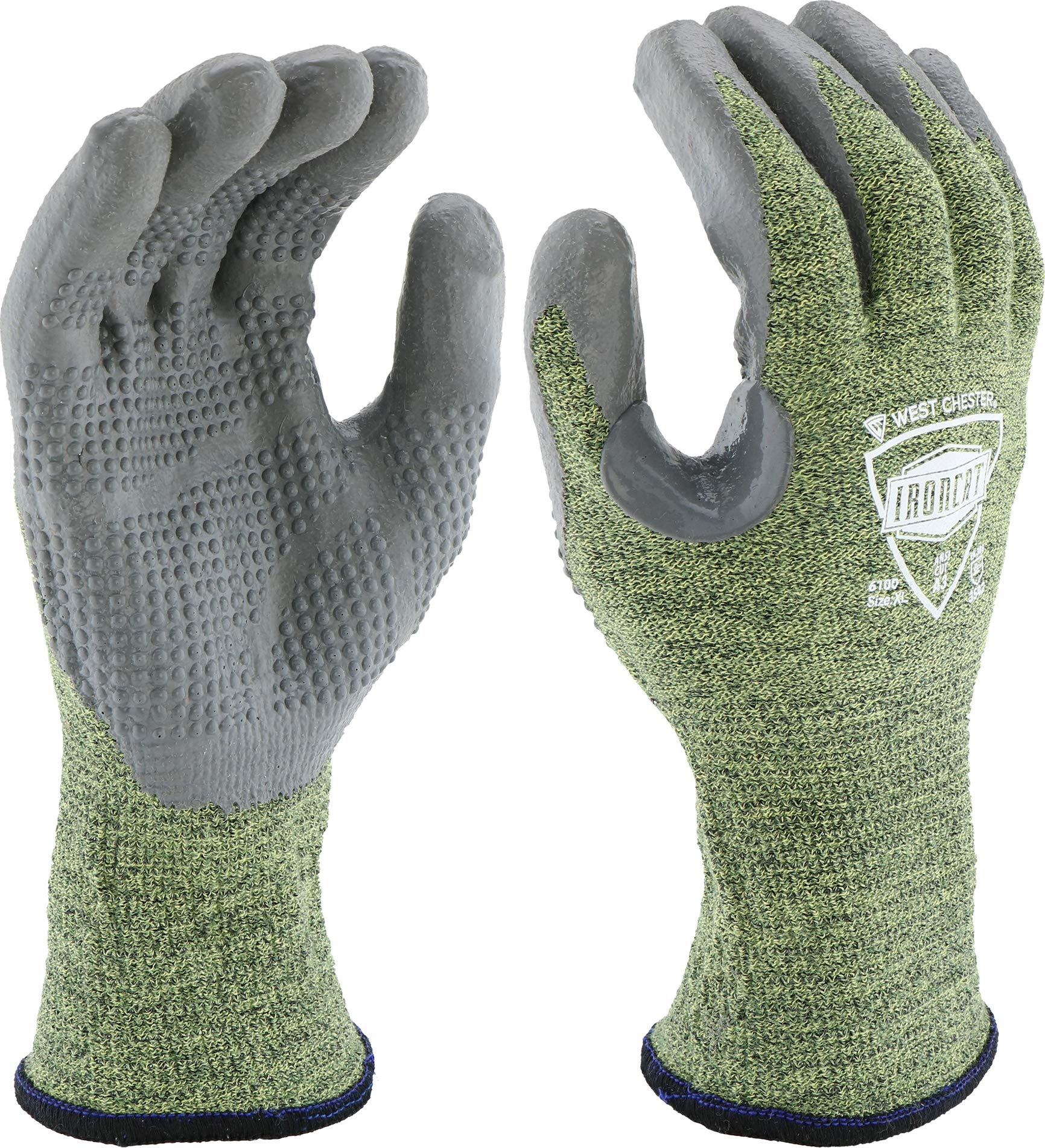 West Chester IRONCAT 6100 Metal Tamer TIG Welding Gloves - [1 Pair] Large, Seamless Knit Blend, Fire Resistant Silicone Coated Palm Knit. Welder Safety Wear