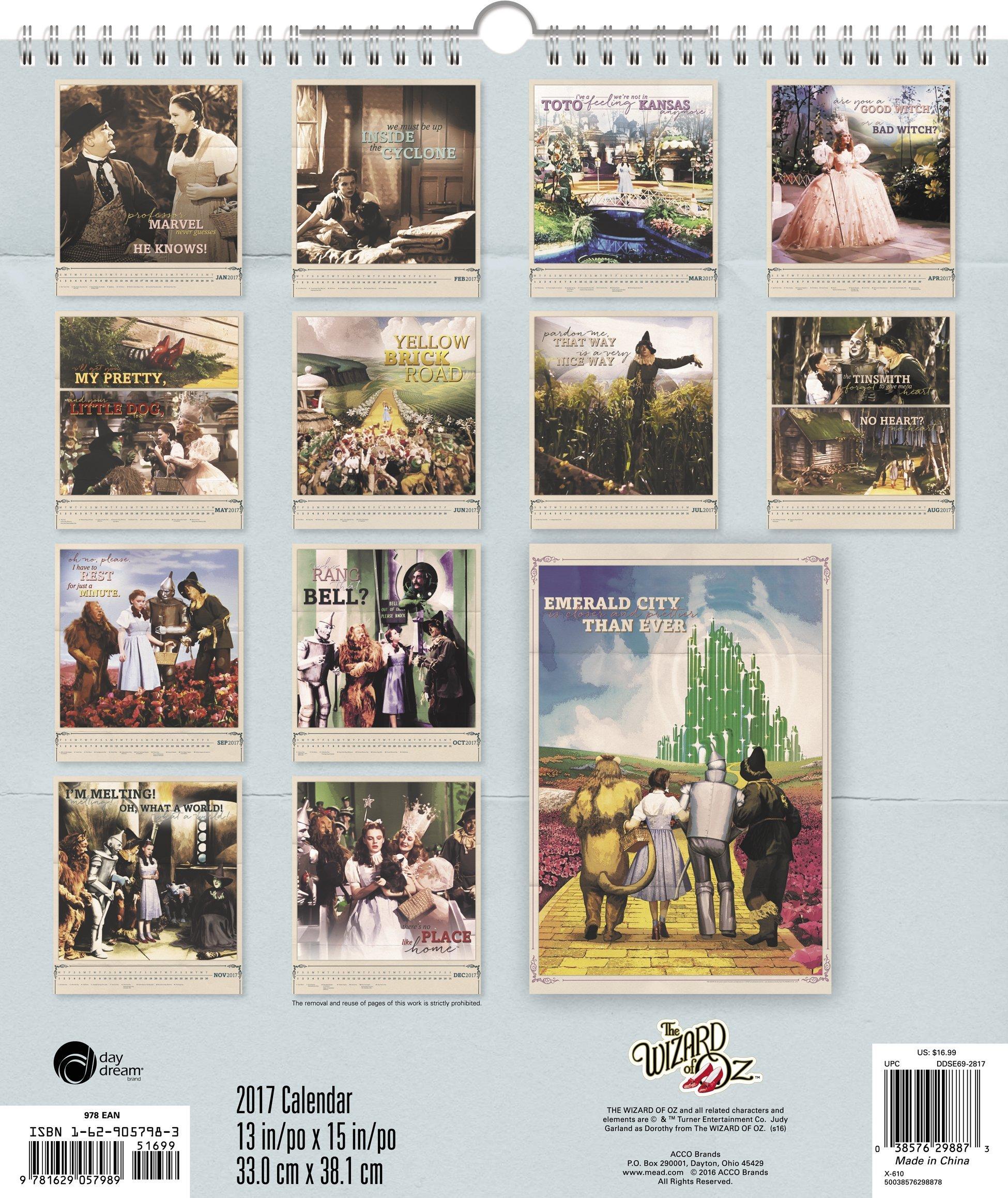the wizard of oz wall calendar 2017 day dream 0038576298873