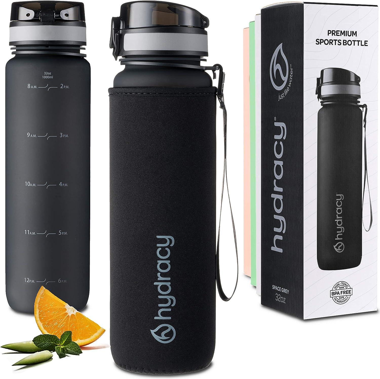 Hydracy Botella de Agua con Marcador de Tiempo - Sin BPA con Filtro de Infusión de Frutas - Antigoteo y sin Sudor - Ideal para el Ejercicio y los Deportes al Aire Libre