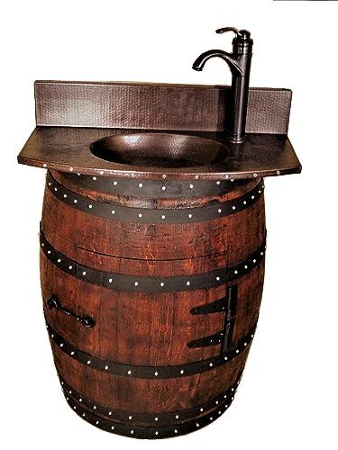 Amazoncom French Oak Wine Barrel Bathroom Vanity Table With - Wine barrel bathroom vanity