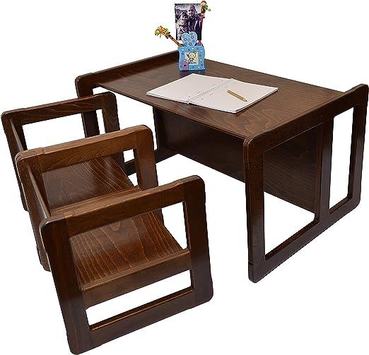 3 en 1 Muebles para Niños Conjunto de 3 Dos Pequeñas Mesas Sillas ...