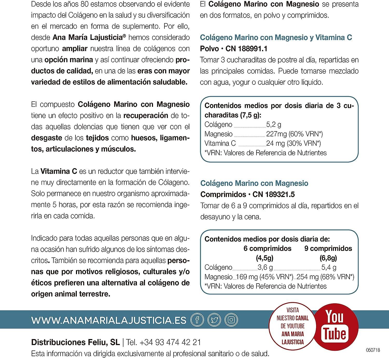 Ana Maria Lajusticia - Colágeno marino con magnesio y VIT C 350 g (sabor sandía) - Articulaciones fuertes y piel tersa. Regenerador de tejidos con ...
