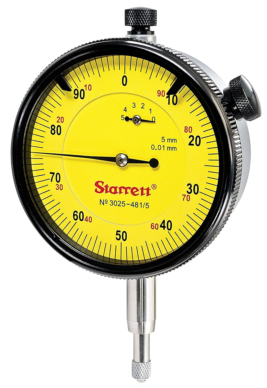 Starrett 3025-481/5 Dial Indicator, Range: 5mm, Dial Reading: 0-100