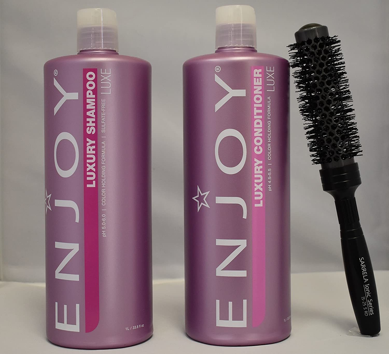 Enjoy Sulfate-Free Luxury Shampoo and Luxury Conditioner DUO Set 33.8 fl oz with (SARRELA Ionic Hair Brush) Small (33.8 oz/1000 ml - Small Brush DUO KIT)