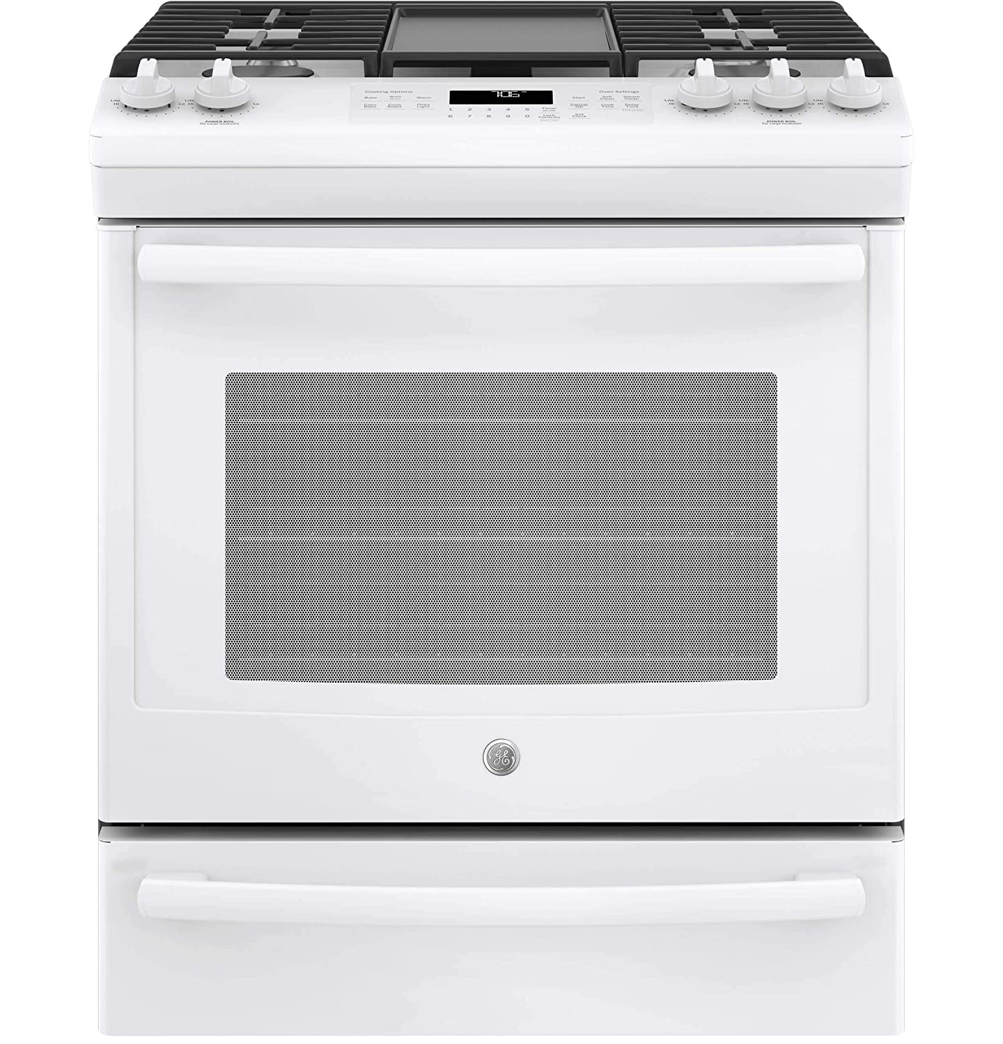 GE JGS760DELWW 30 Inch Slide-in Gas Range with Sealed Burner Cooktop, 5.6 cu. ft. Primary Oven Capacity, in White (Certified Refurbished)