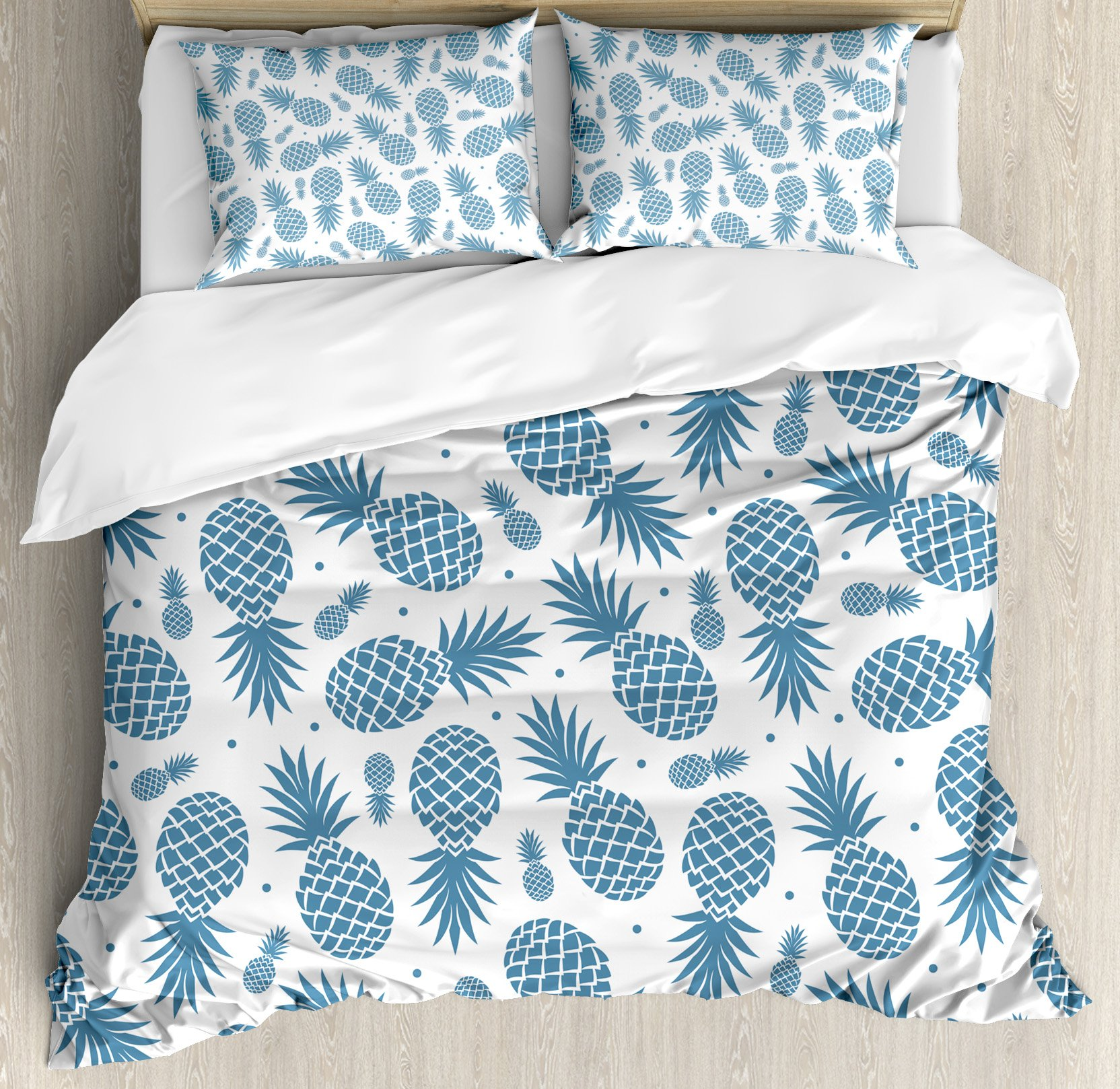 Pineapple Duvet Cover Set King Size by Ambesonne, Island Themed Minimalistic Multi-Sized Tropic Fruity Pineapple Printed Vintage, Decorative 3 Piece Bedding Set with 2 Pillow Shams, Blue White