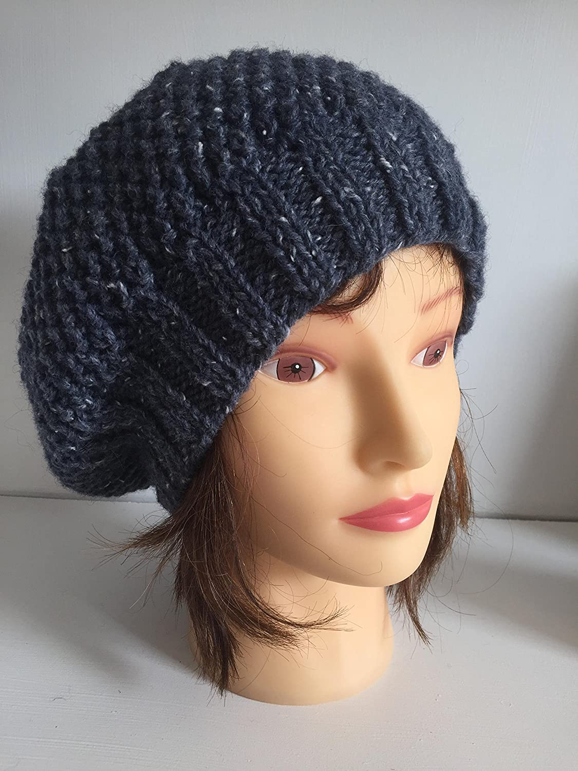 7ff00c2fea4 Womens Warm Hand Knitted Beret in Airforce Blue Wool Blend Yarn ...