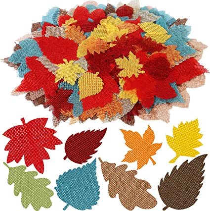 Amazon.com: 96 Pcs Fall Leaf Shapes Fake Burlap Leaf Cutouts Dies Fabric  Maple Oak Leaves Foliage Bulk Autumn Table Scatters 2