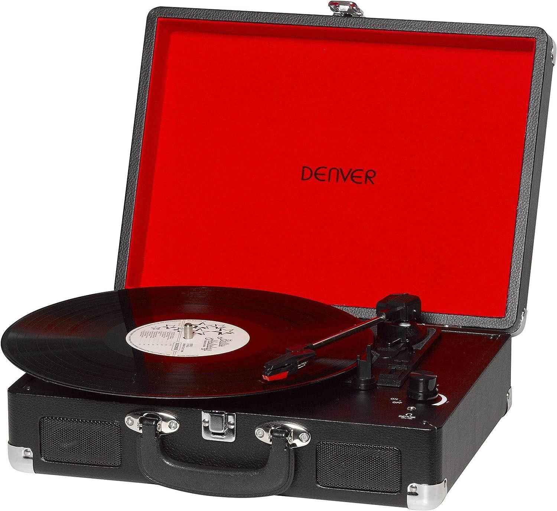 Tocadiscos Denver VPL-120 Black, Reproducción a 3 Velocidades, Diseño Maleta, 2 Altavoces Estéreo, Función Grabación