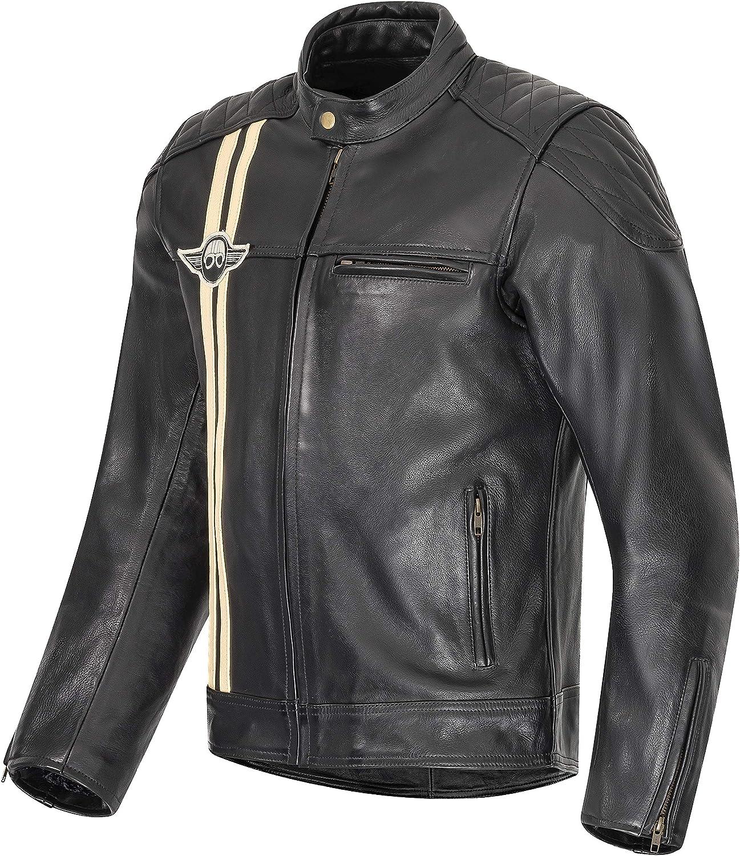 XLS Motorradjacke Classic Stripes f/ür Herren schwarz aus Leder Retro Bikerjacke herausnehmbares Thermofutter Gr/ö/ße XL