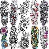 11 Sheets NEZAR Large Vine Peony Flower Rose Full Arm Temporary Tattoos For Women Realistic Skull Skeleton Fake Temporary Tat