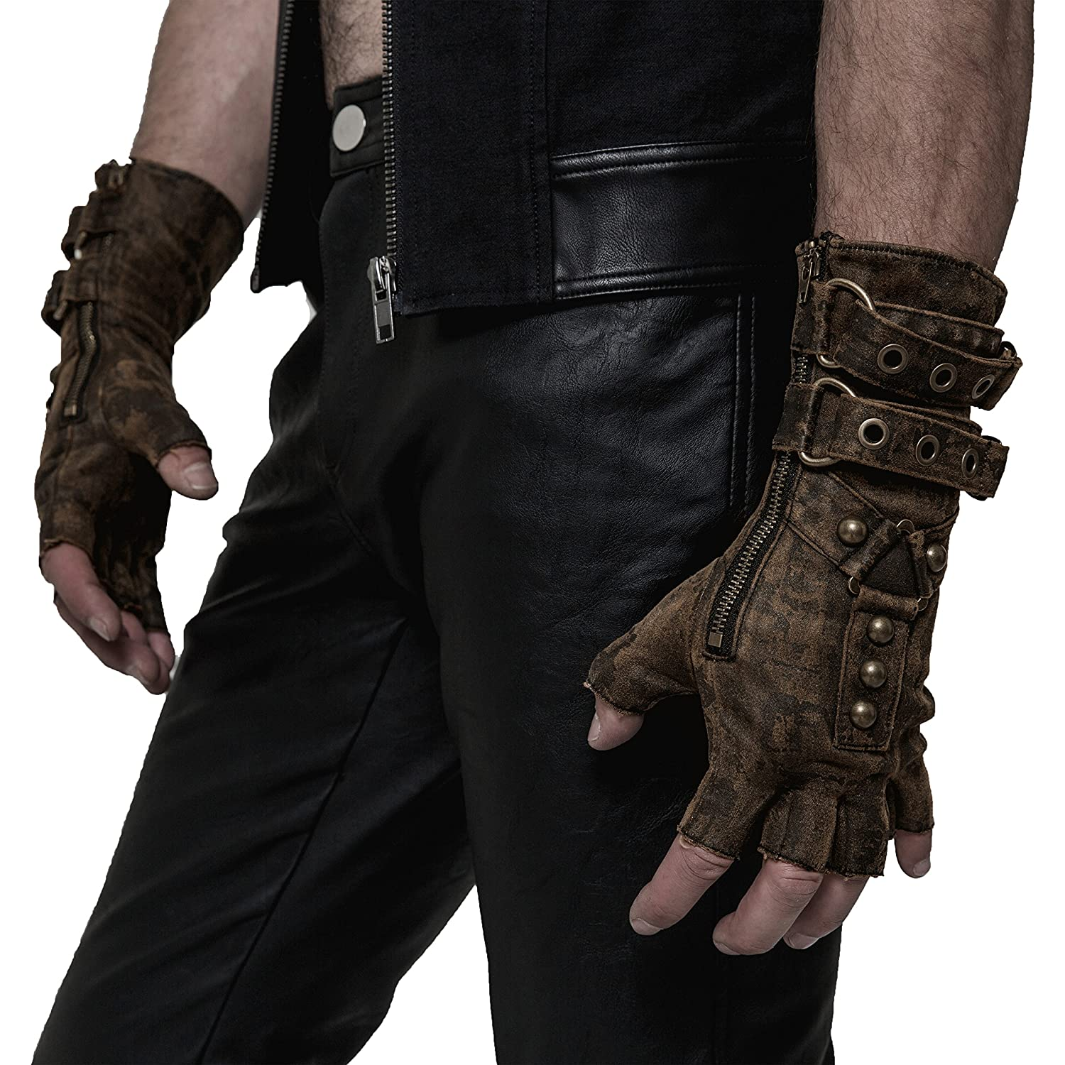 Men's Steampunk Goggles, Guns, Gadgets & Watches Punk Rave Steampunk Fingerless Motorcycle Faux Leather Gloves for Men Accessories $34.58 AT vintagedancer.com