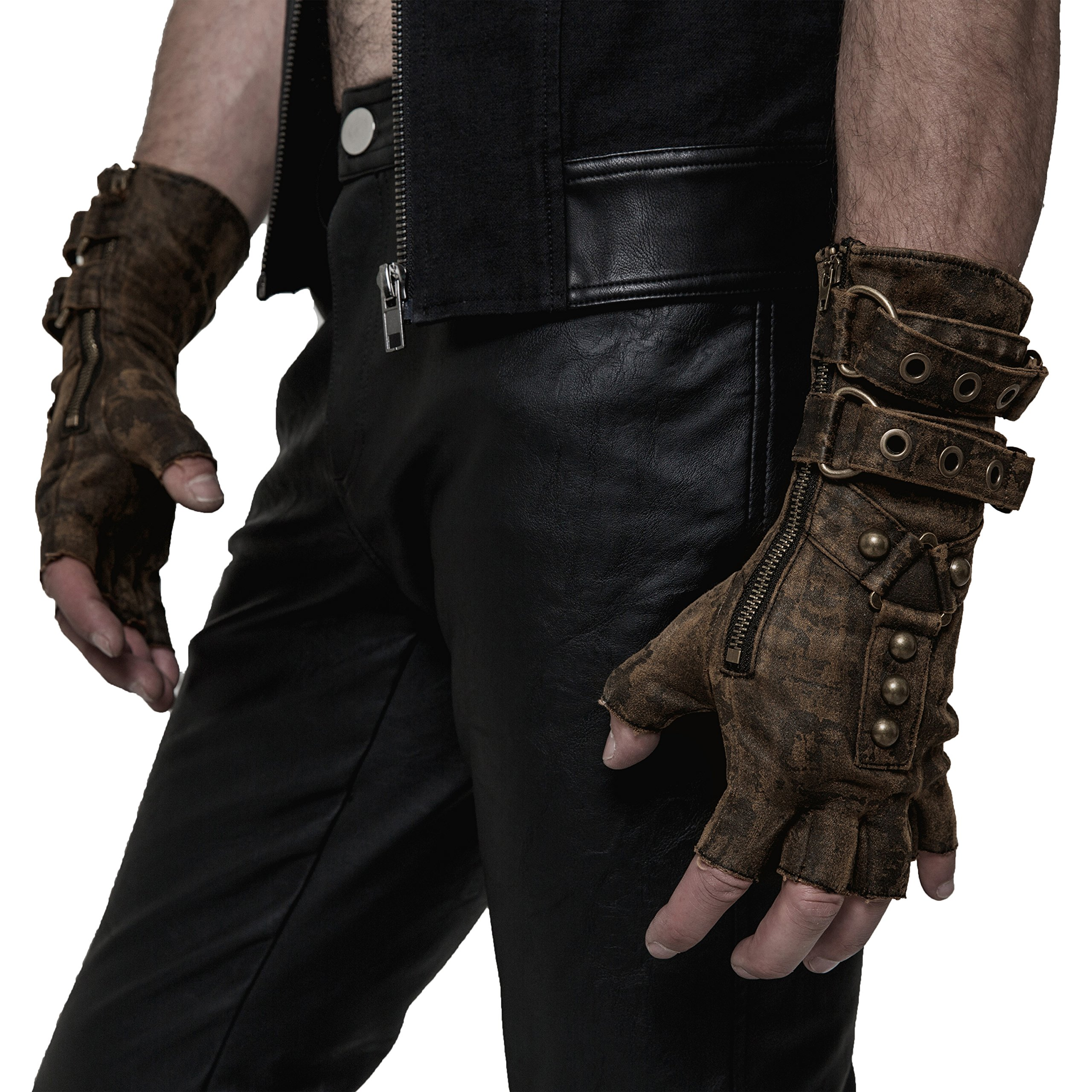 Punk Rave Coffee Steampunk Gloves for Men (XXX-Large)