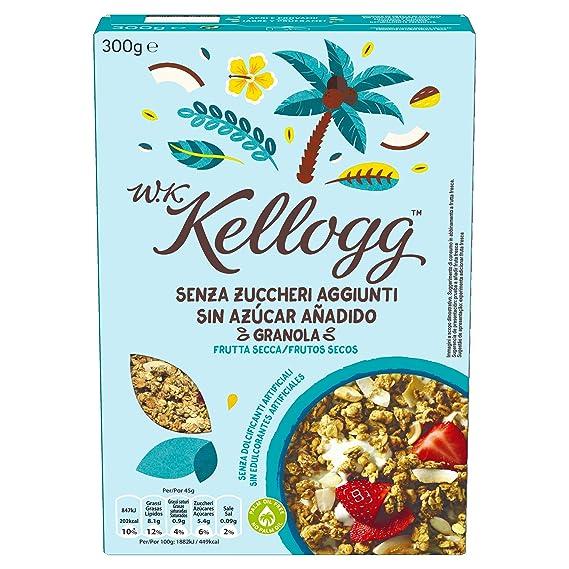 Kelloggs Cereales sin Azúcar Añadido Frutos Secos - 2 Paquetes de 300 gr - Total: