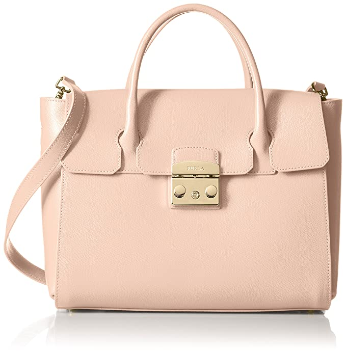 Borsa a mano Furla Metropolis medium in pelle rosa cipria  Amazon.it   Abbigliamento 7c61bfb991d