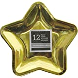 Star Shaped 9.6 Inch Foil Paper Party Plates, Set of 24 (Gold)