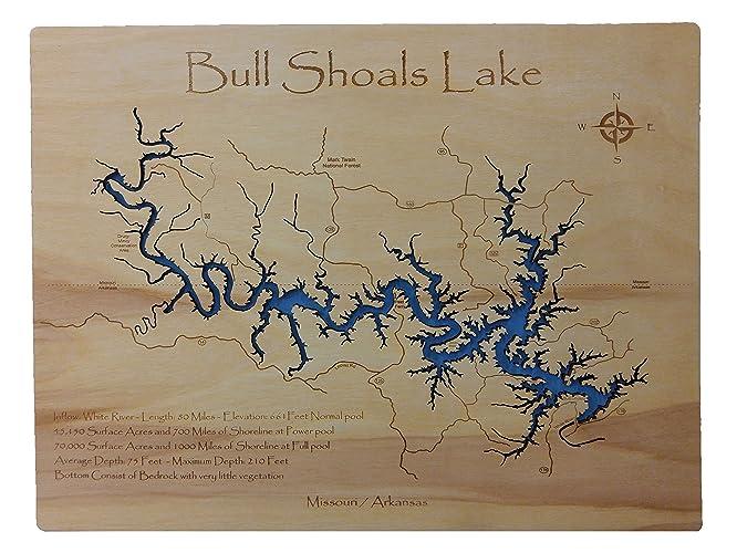 Amazon.com: Bull Shoals Lake in Arkansas and Missouri: Standout Wood ...