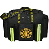 Lightning X Premium Firefighter Fireman XL Step-In Turnout Fire Bunker Duty Gear Bag w/ Shoulder Strap & Front Operations Tactical Pockets