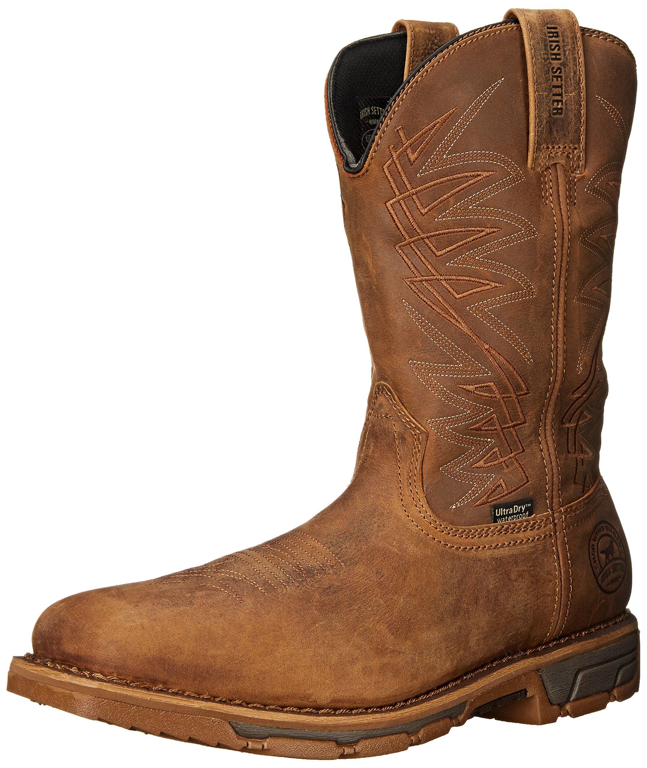 Irish Setter Work Men's Marshall 11'' Pull-on Square Toe Boot, Brown, 12 D US