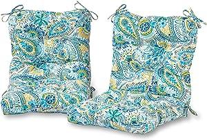Greendale Home Fashions AZ6815S2-BALTIC Paisley Outdoor Chair Cushion (Set of 2)