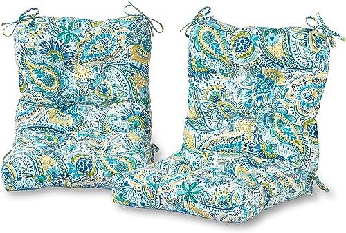 Greendale Home Fashions AZ6815S2-BALTIC Paisley Outdoor Chair Cushion Set of 2