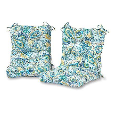 Greendale Home Fashions Outdoor Seat Back Chair Cushion in Painted Paisley set of 2 , Baltic