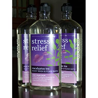 Lot of 3 Bath & Body Works Aromatherapy Stress Relief Eucalyptus Tea Body Wash & Foam Bath (Eucalyptus Tea)