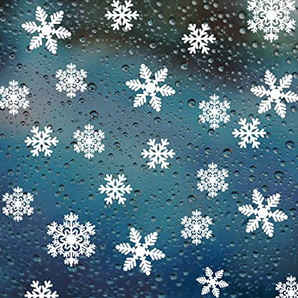Amazon Com Mooseng 54pcs Snowflakes Window Clings Winter Stickers