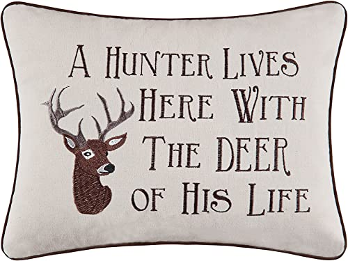 C F Home 12×16 Embroidery Pillow, A Hunter Lives Here