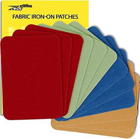 Zeffka - Parches de tela de alta calidad para planchar, color azul, rojo, amarillo, marrón, verde, 12 piezas, kit de reparación de 3 x 4 – 1/4 pulgadas: Amazon.es: Hogar