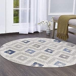 """Home Dynamix Melrose Maritza Area Rug, 7'10"""" Round, Blue/Ivory"""