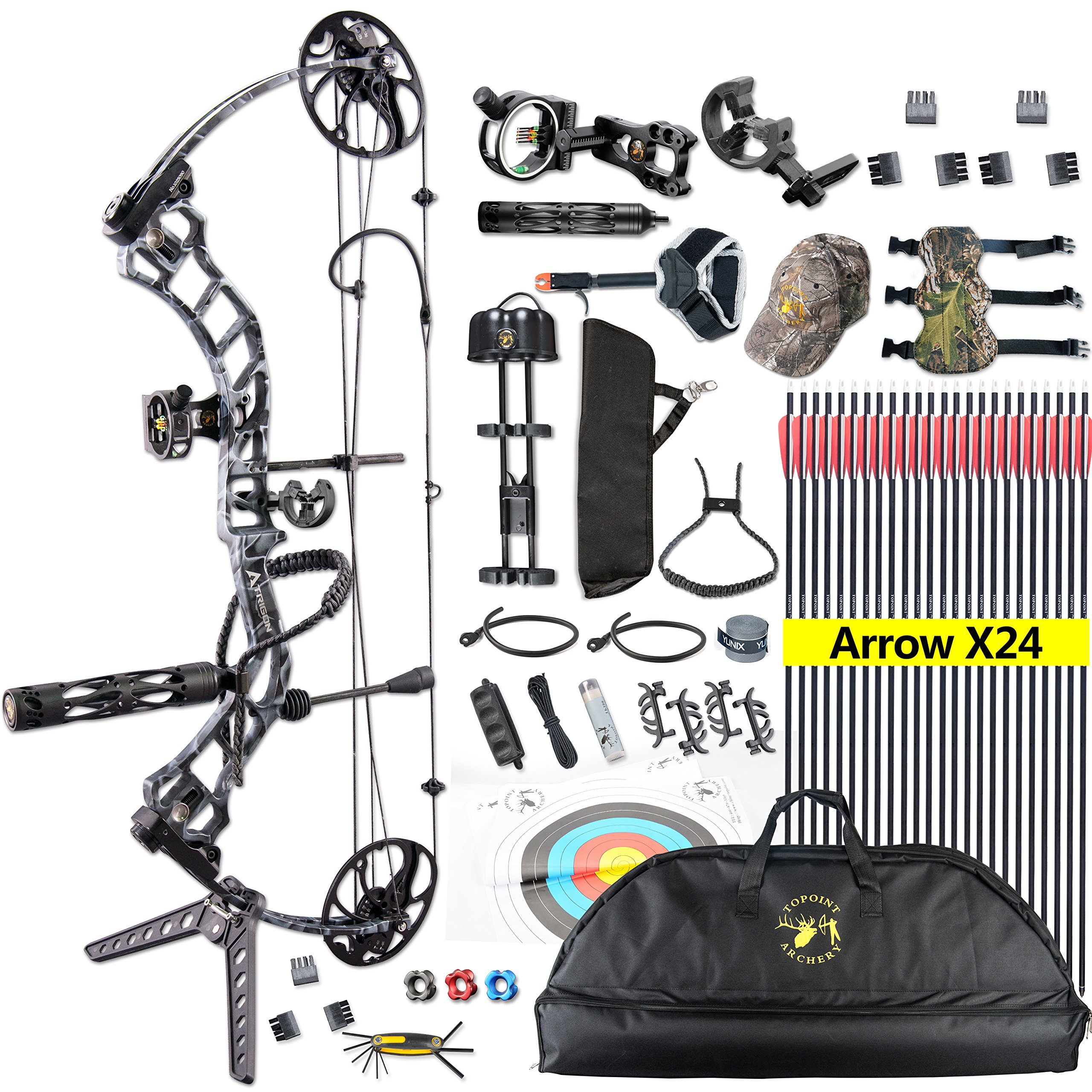 TOPOINT Trigon Compound Bow Full Package,CNC Milling Riser,USA Gordon Composites Limb,BCY String,19''-30'' Draw Length,19-70Lbs Draw Weight,IBO 320fps (Black CAMO)
