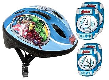 Stamp Set de protección (casco + rodilleras y Coudieres bicicleta - Avengers, av299507: Amazon.es: Juguetes y juegos