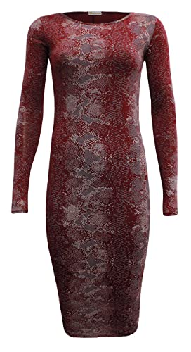 Girls Walk New Womens Midi Dress Ladies Snake Print Stretch Bodycon Midi