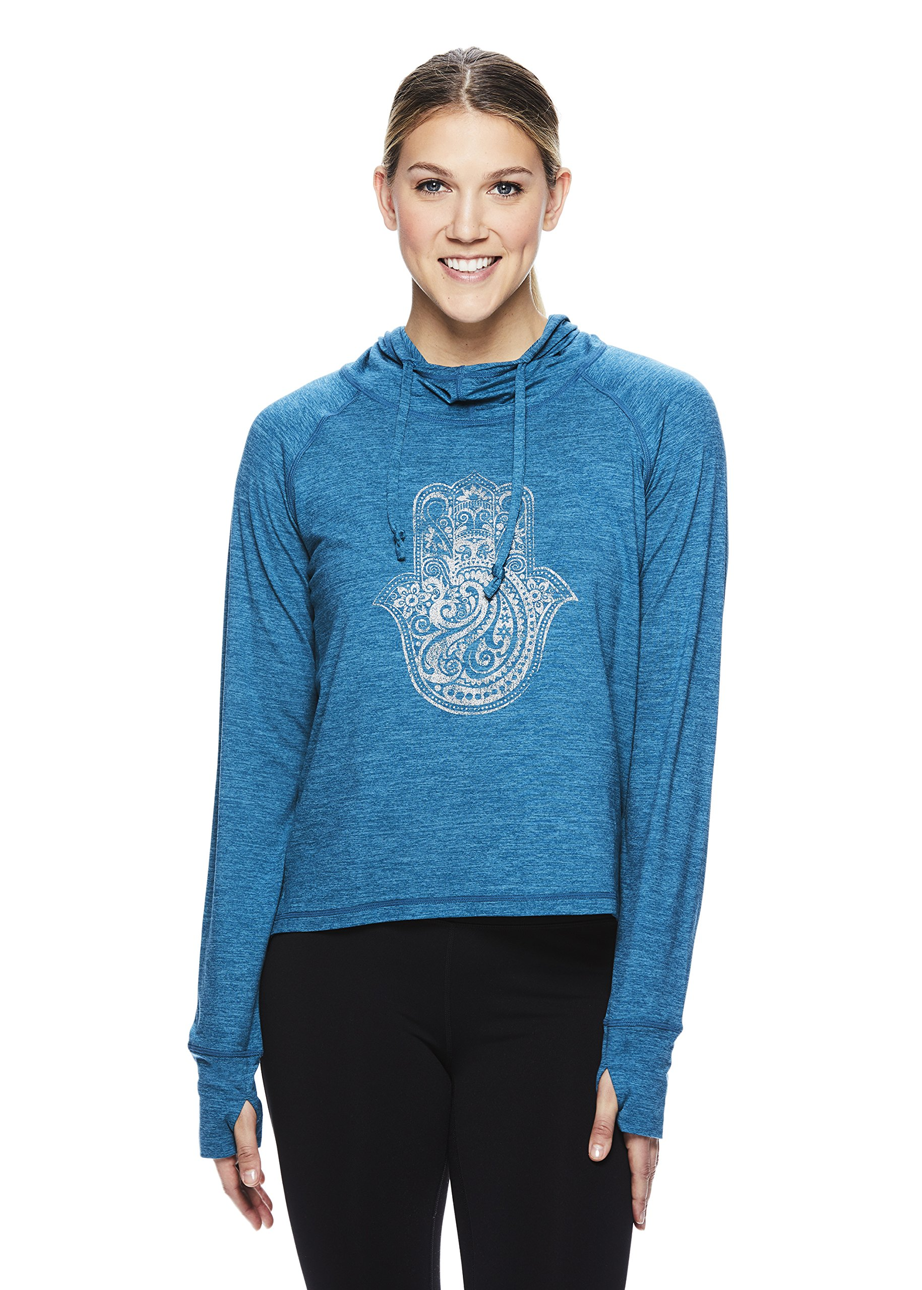 Gaiam Women's Graphic Long Sleeve Hoodie - Hooded Activewear Workout & Yoga Sweater - Maya Deep Teal Heather, X-Small by Gaiam