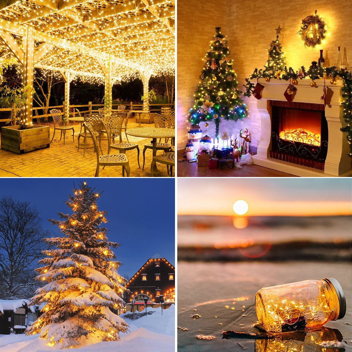 LED String Lights 99ft 300 LEDS Waterproof Copper Wire Fairy Light Twinkle Decorative Lighting for Christmas Tree,Festival Holiday,Birthday Party,Garden,Wedding,Indoor/& Outdoor,Home,Patio Warm white