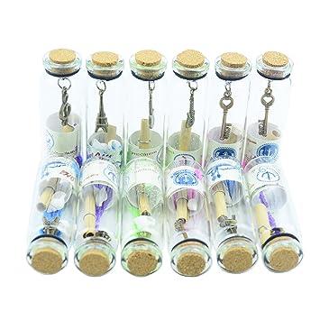 12pcs Vidrio Retro Vintage Claro que Deseen Botellas con Tapones de Corcho y Antiguos Colgantes de