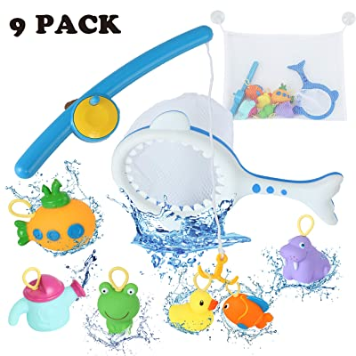 Jaolex Baby Bath Toys Fishing Toys Bathtub Fun Toys Cute Water Spray Toys and Squeak Animal Toys, Fun Fishing Rods and Fishing Net Storage Bag Set, Best Gift for Babies Boys and Girls: Toys & Games