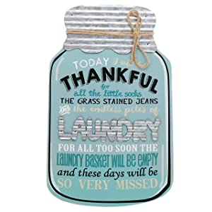 "Barnyard Designs Rustic Today I Will Be Thankful Mason Jar Decorative Wood and Metal Wall Sign Vintage Country Decor 14""x 9"""