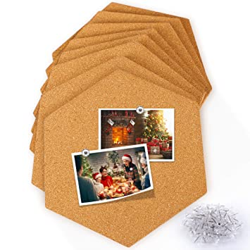 Amazoncom Famistar Hexagon Cork Board Tiles 8 Pack With Full