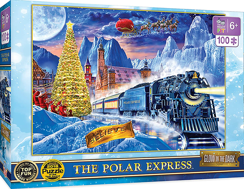 100Piece Masterpieces Polar Express Glow in The Dark Jigsaw Puzzle