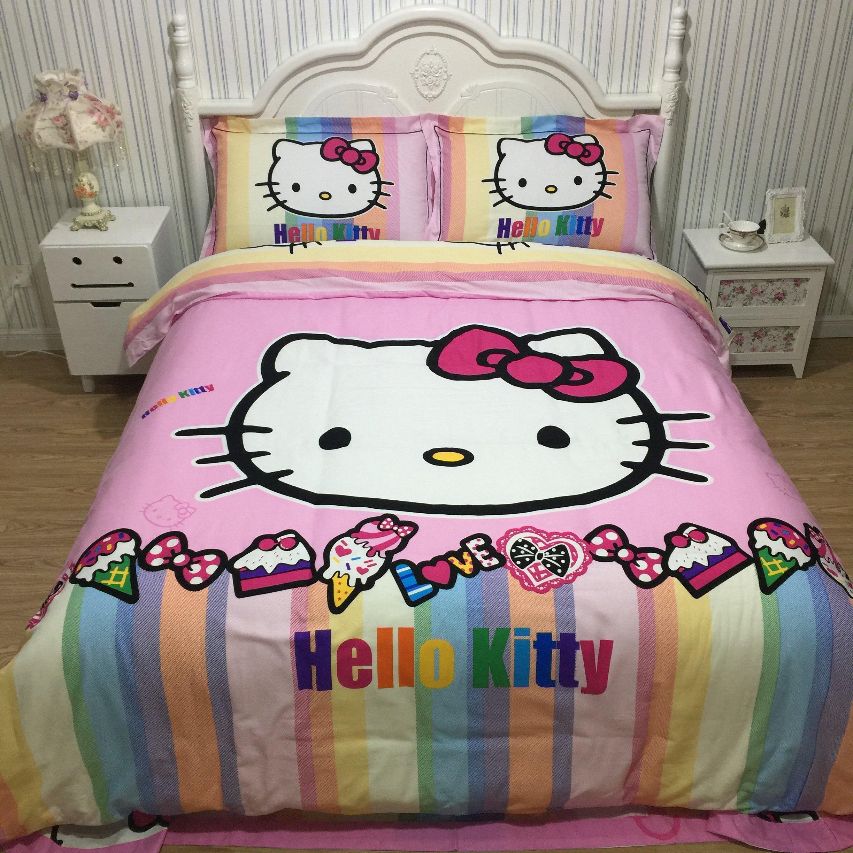 CASA 100% Cotton Brushed Kids Bedding set Girls Hello Kitty Duvet Cover and Pillowcases and Flat sheet,girls,Girls,4 Piece,King