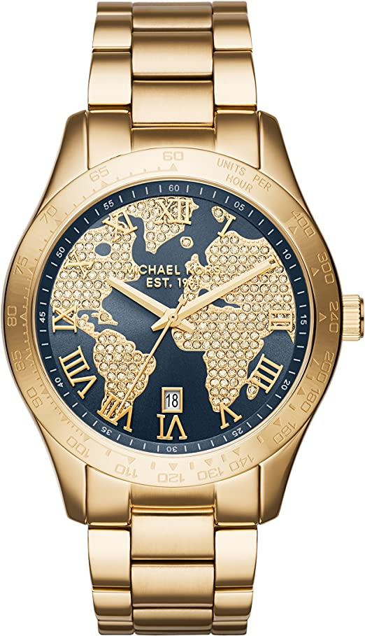 Michael Kors Layton Blue Crystal Pave Dial Gold Tone Ladies Watch