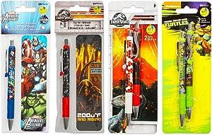 Premium Ballpoint Pen Set for Boys Bundle - 6 Pack Marvel Avengers, Jurassic World, Teenage Mutant Ninja Turtles Pen Value Pack with Bookmarks (School Supplies Office Supplies)