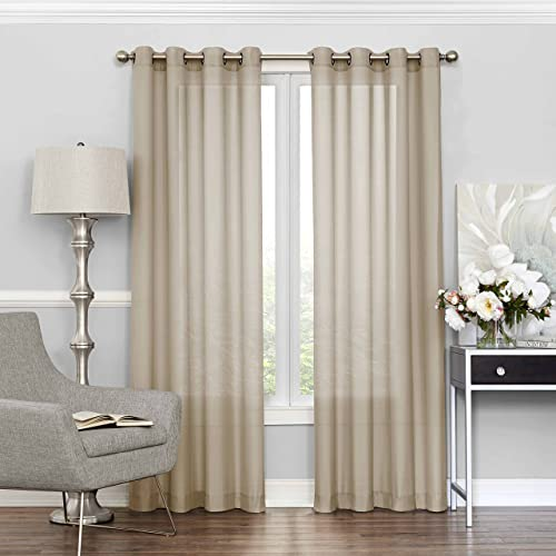 ECLIPSE Sheer Curtains for Bedroom – Liberty 52 x 84 Light Filtering Grommet Top Single Window Panel Curtain Living Room, Ecru